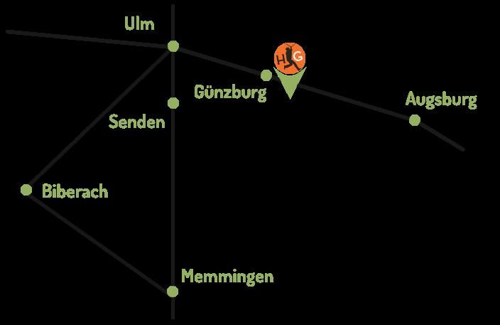 Standort Skizze des Hochseilgarten Guenzburg